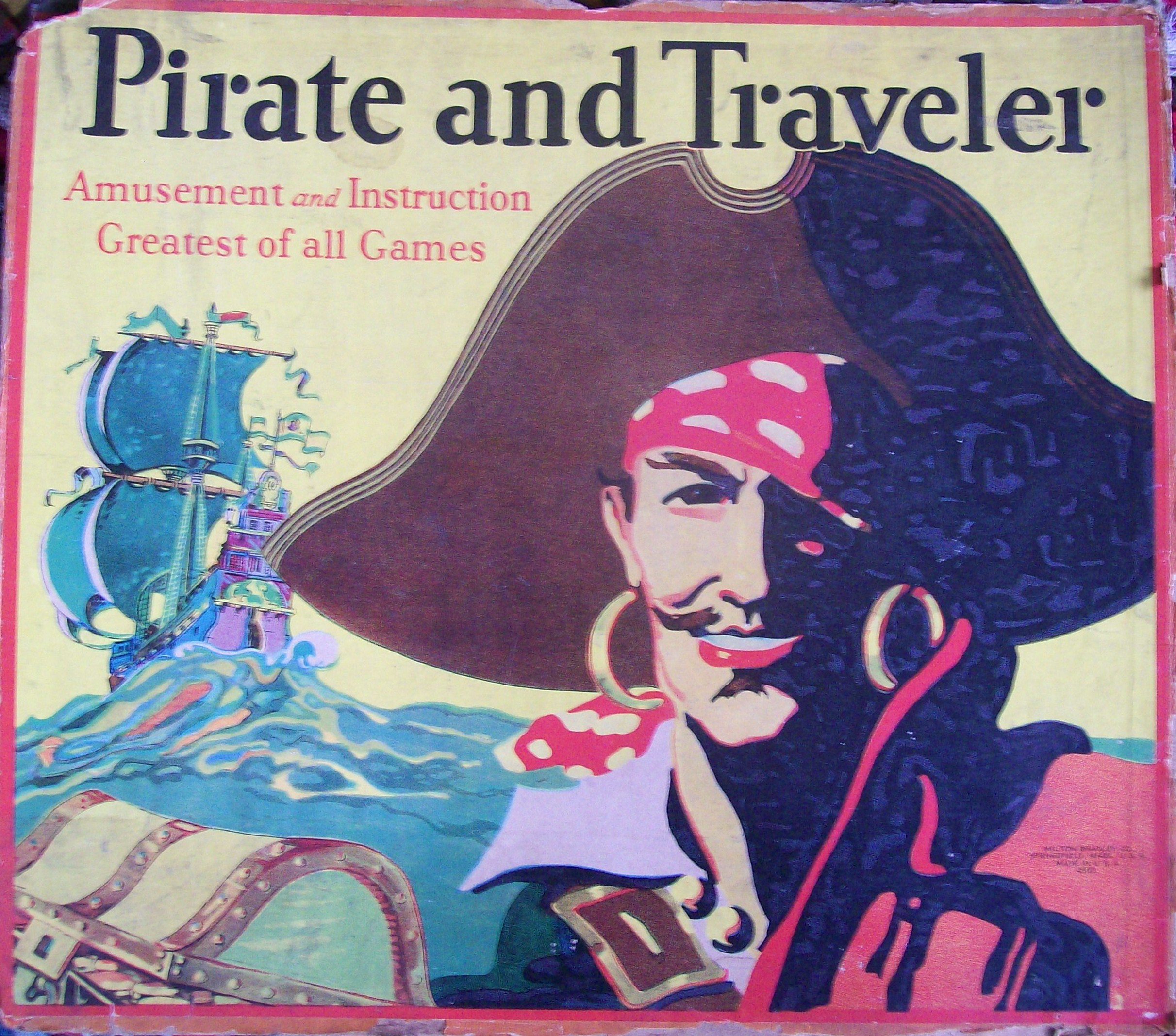 milton bradley 1911 pirate and traveler board game box