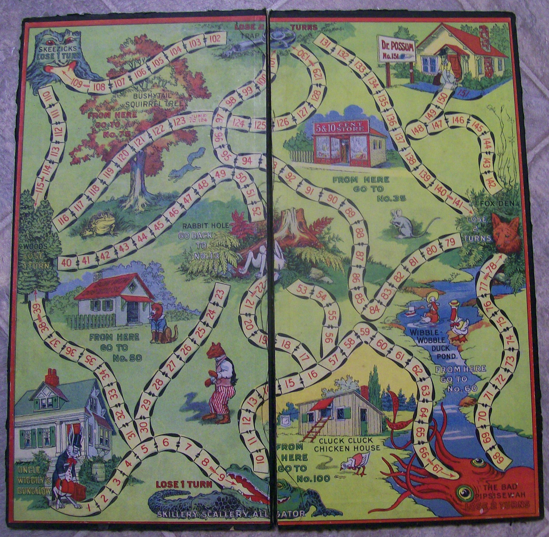 game board of uncle wiggily