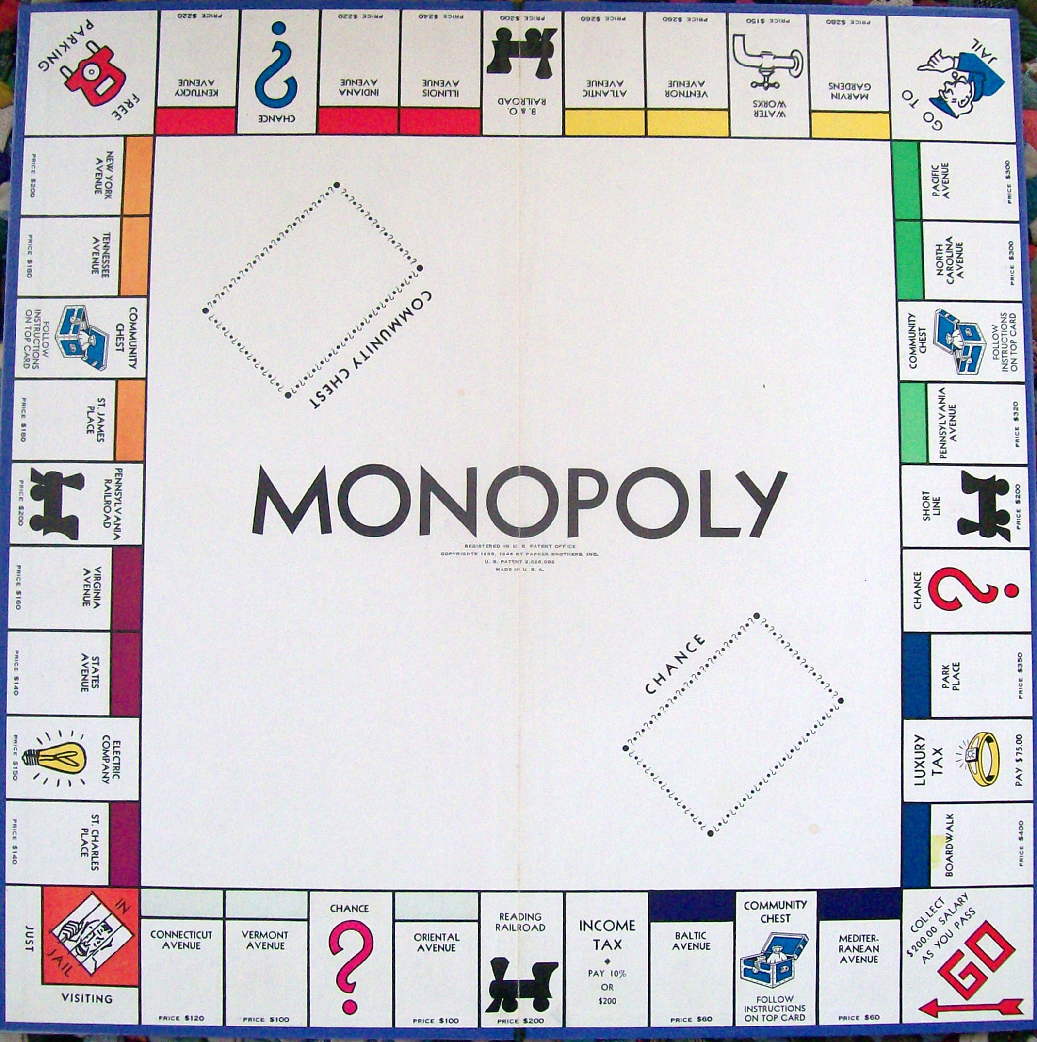 Game board colors - Parker Brothers Monopoly Game Board