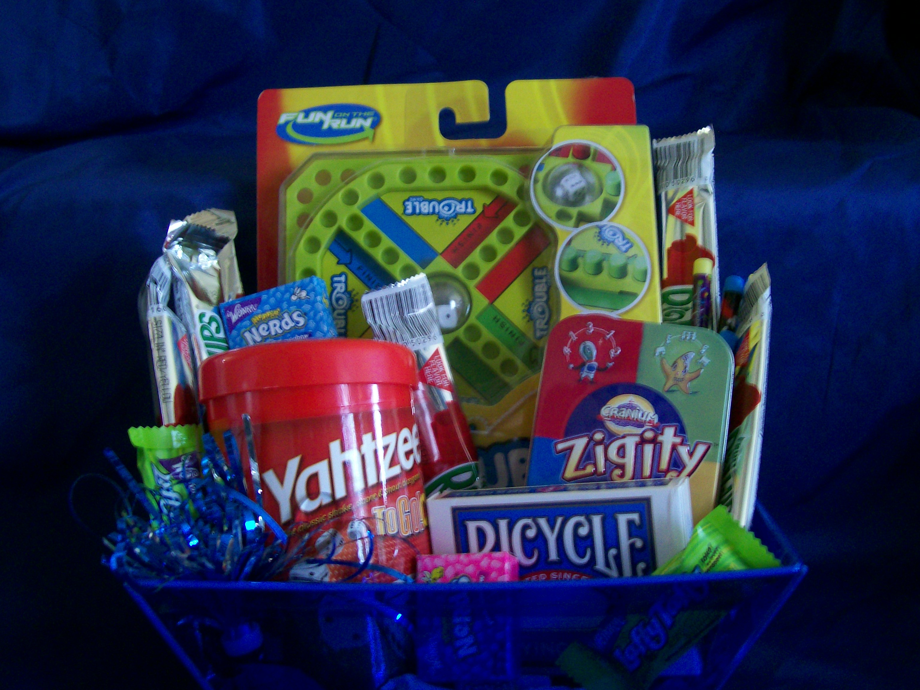 fun and games travel gift basket