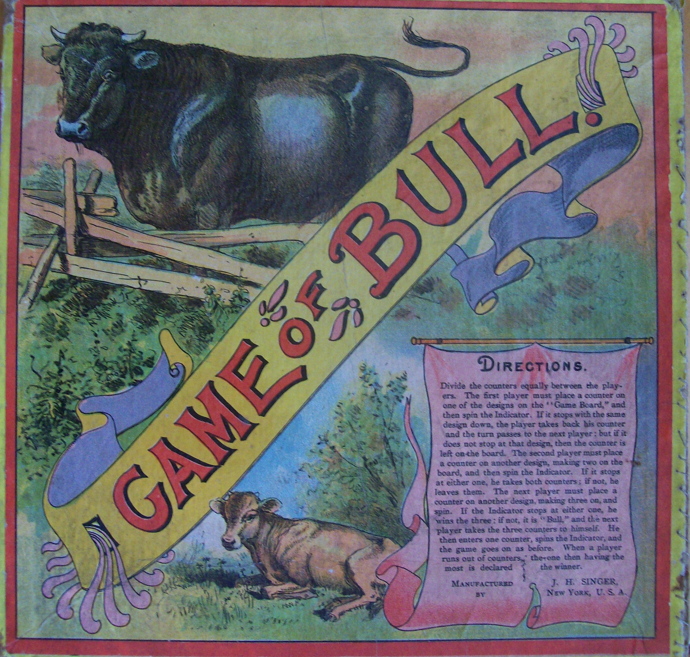 old 1800's game of bull JH Singer