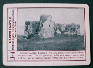 1896 fireside game company carew castle game card