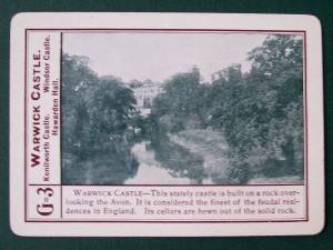 1896 fireside game company warwick castle game card