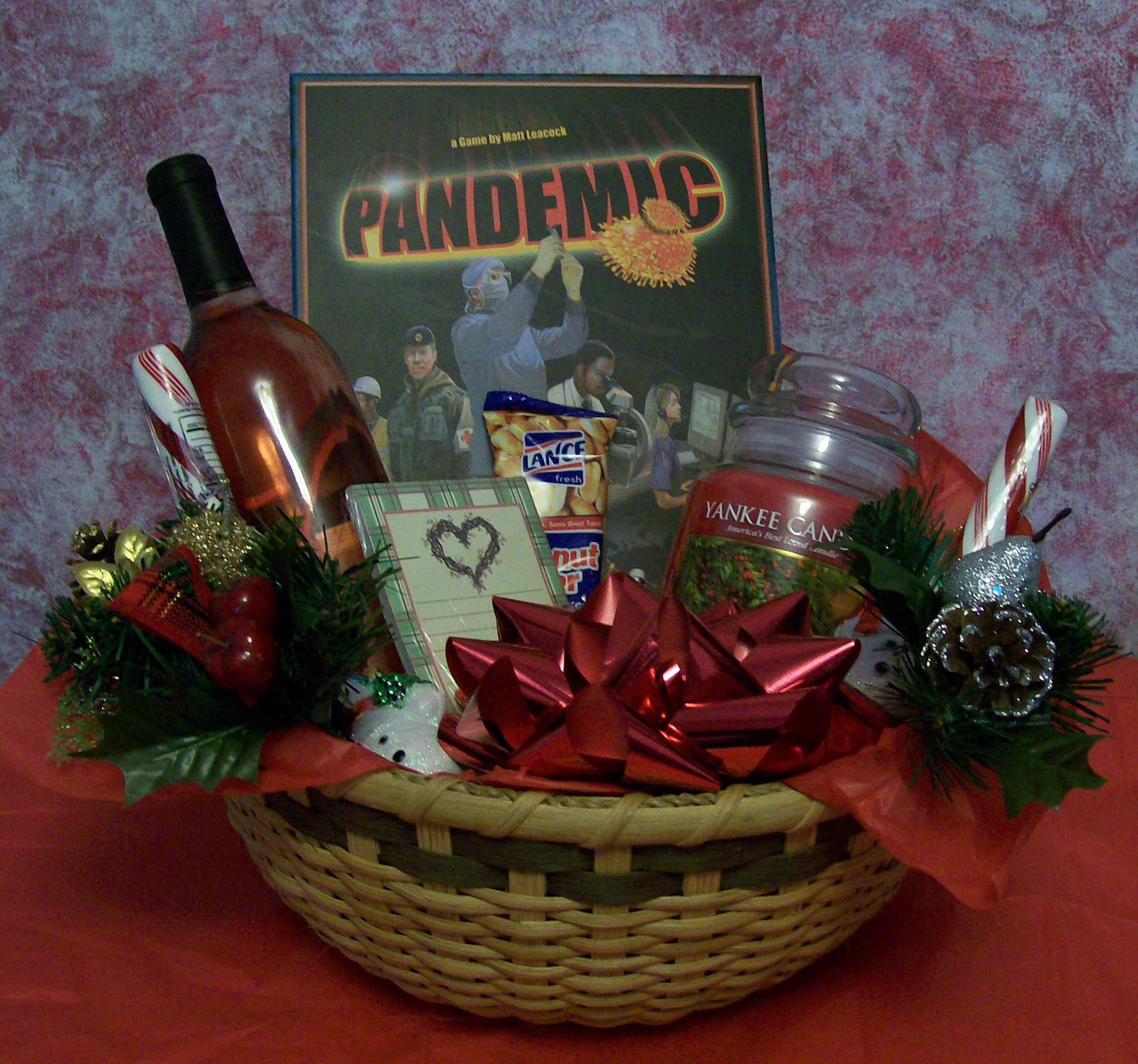 create a christmas fun and games gift basket for a family