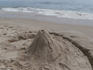 Sand Volcano sculpture for beach game