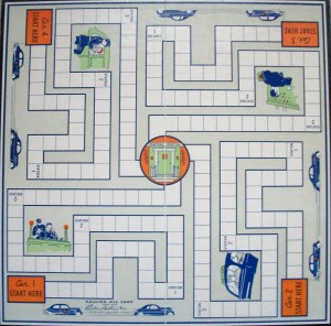 vintage parker brothers game board calling all cars