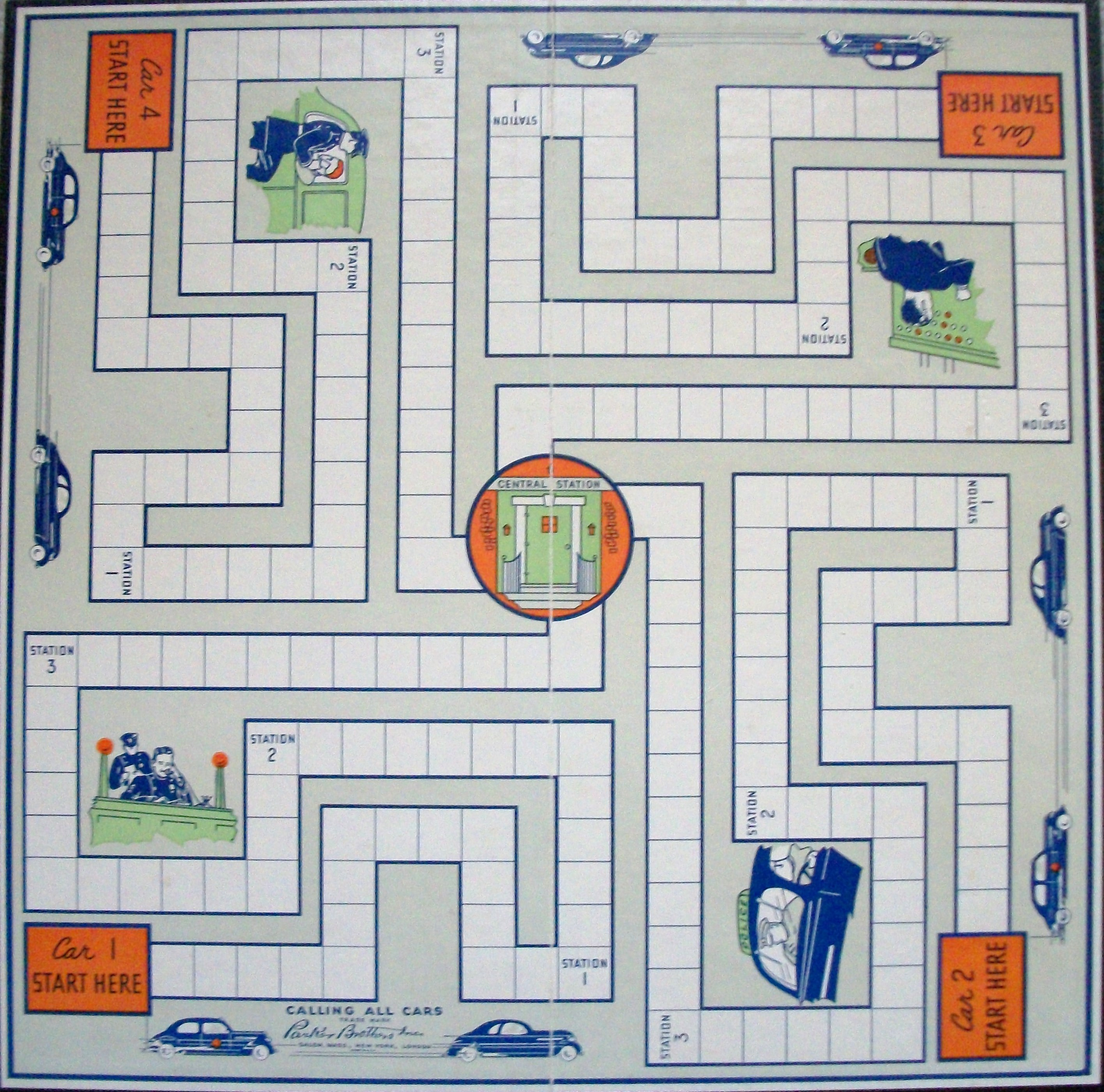 Game board colors - Vintage 1938 Parker Brothers Calling All Cars Board Game