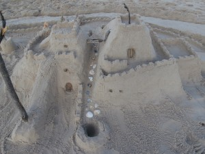 beach game of mini golf sand castle