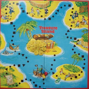 old milton bradley game board treasure island