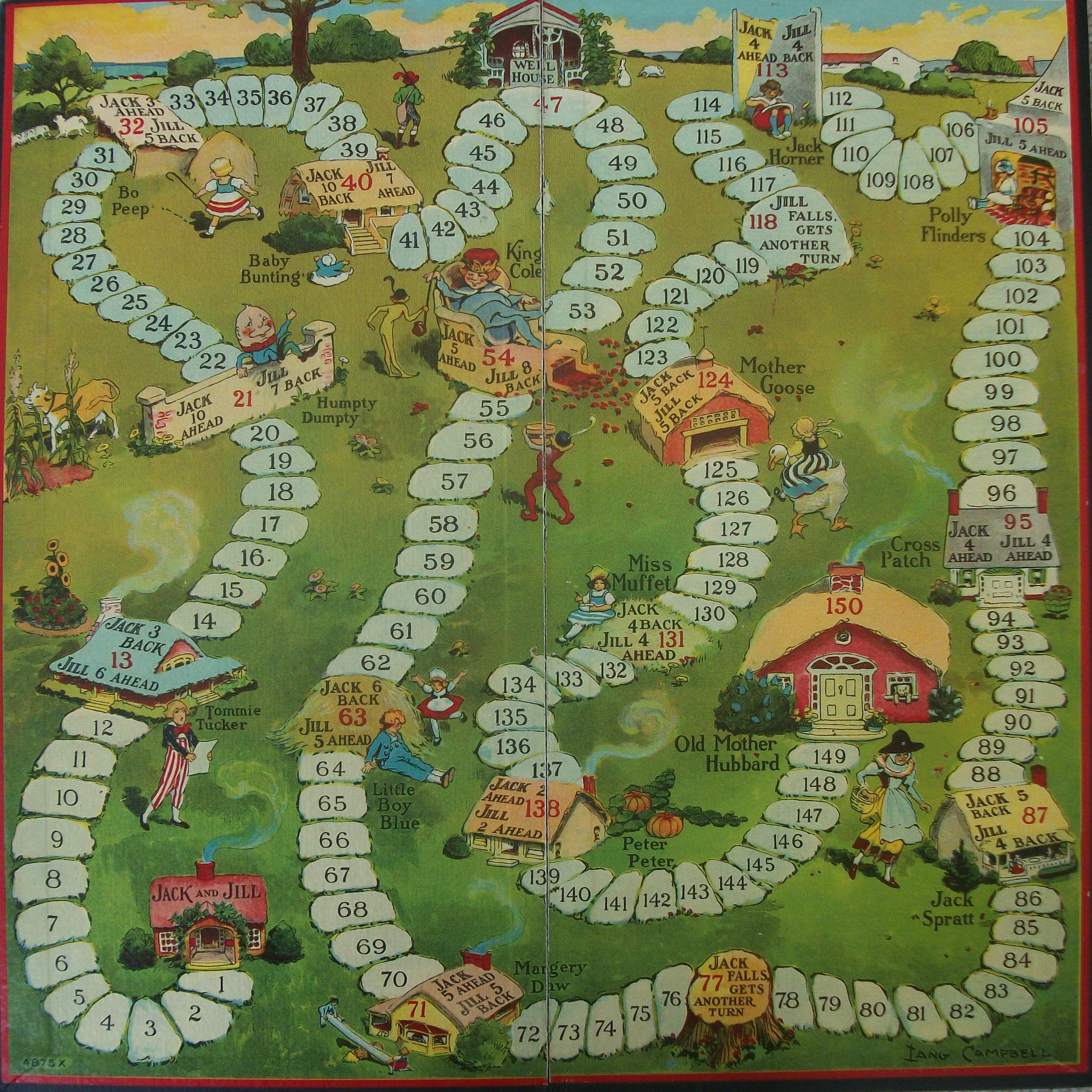 old milton bradley game board jack and jill 1938